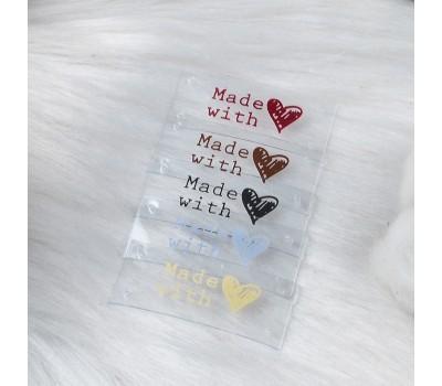Бирки силиконовые пришивные 3,5х1,5 см. Made with ♥