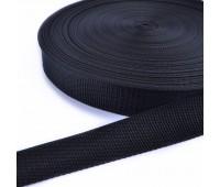 Ременная лента 38мм черная, длина - 1 метр