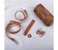 Комплект из натуральной кожи для сумки Ракушка с цельным ремешком