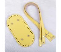 Комплект из натуральной кожи для сумки шопера с ручками на винтах