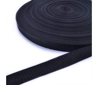 Ременная лента 25мм черная, длина - 1 метр