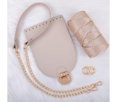 Комплект из натуральной кожи для сумочки Орео с комбинированным ремешком