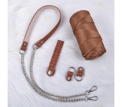 Комплект из натуральной кожи для сумки Ракушки со шлевками на полукольцах