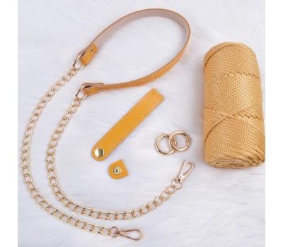 Комплект из натуральной кожи для сумки Ракушки с кольцами-карабинами